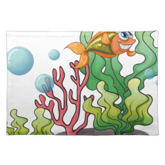 A fish underwater with the coral reefs cloth placemat