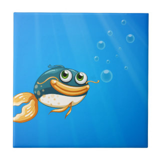 A fish with a big mouth under the ocean ceramic tile