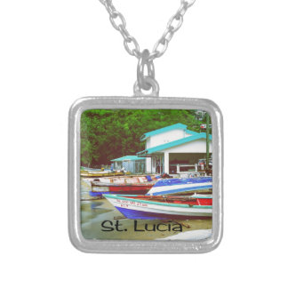 A fishing village in St. Lucia Silver Plated Necklace