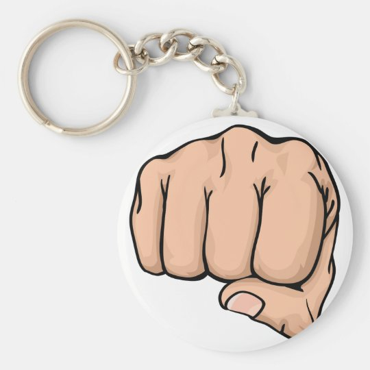 a fist punching towards you keychain