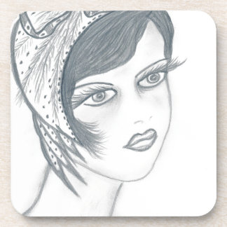 A Flapper Girl with Bow Beverage Coaster