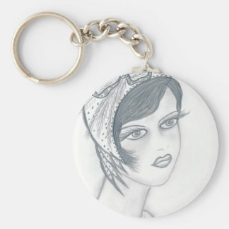 A Flapper Girl with Bow Key Chain