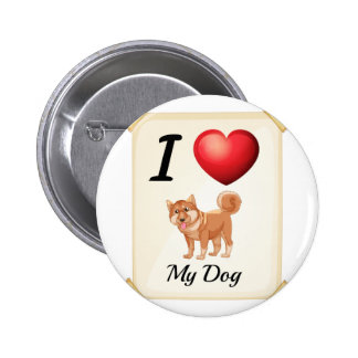 A flashcard showing the love of a dog button