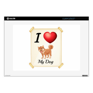 """A flashcard showing the love of a dog decals for 15"""" laptops"""