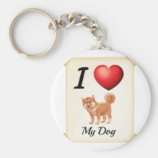 A flashcard showing the love of a dog keychain