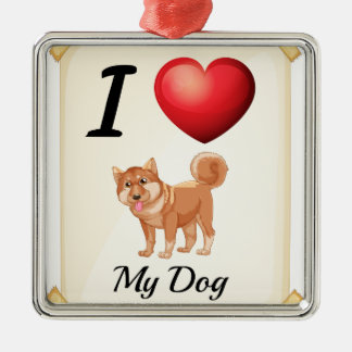 A flashcard showing the love of a dog metal ornament