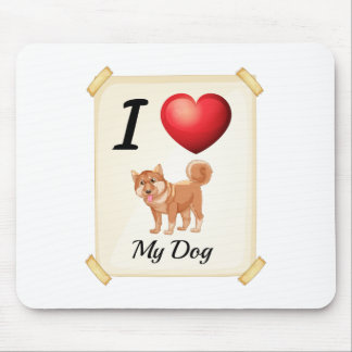 A flashcard showing the love of a dog mouse pad