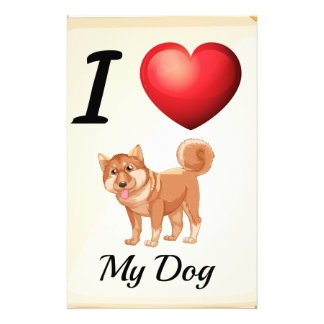 A flashcard showing the love of a dog stationery