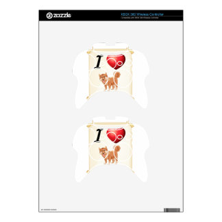 A flashcard showing the love of a dog xbox 360 controller decal