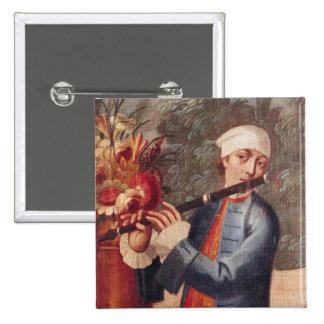 A Flautist, detail from a screen Button
