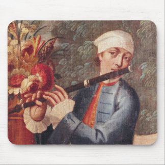 A Flautist, detail from a screen Mouse Pad