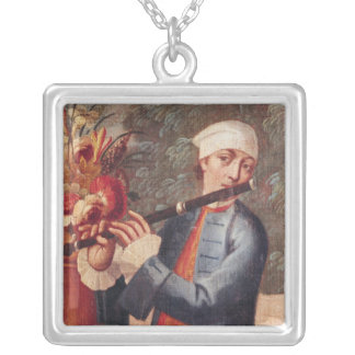 A Flautist, detail from a screen Square Pendant Necklace