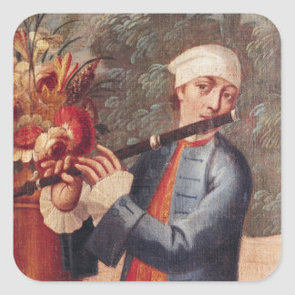 A Flautist, detail from a screen Square Sticker