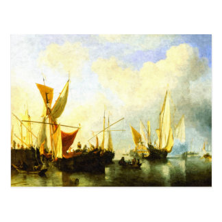 A fleet of sailing ships in the harbour post card