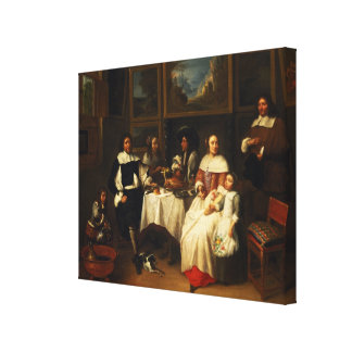 A Flemish Family at Dinner Canvas Print
