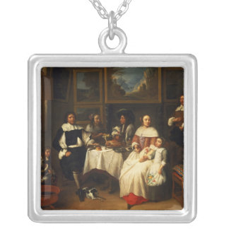 A Flemish Family at Dinner Silver Plated Necklace