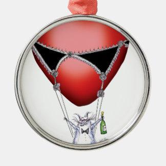 a flight of fancy - cat cartoon, tony fernandes metal ornament