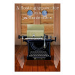 A floating typewriter in a paranoic cabin print