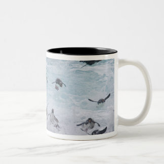 A flock of Rockhopper penguins launch out of the Two-Tone Coffee Mug