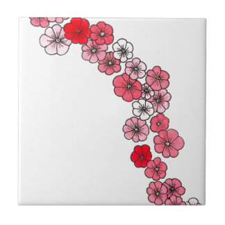 A floral garland in fifty or saves shades tile