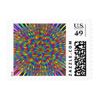 A Floral Tie Dye Postage Stamps