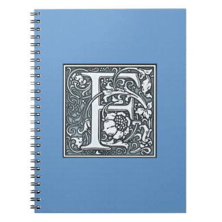 a flourish silver monogram -  F Spiral Notebook