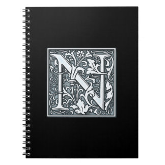 a flourish silver monogram - N Spiral Notebook