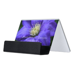 Motivational quotes business card holders zazzle a flower does not compete quote desk business card holder reheart Gallery