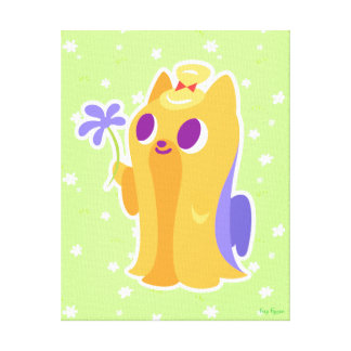 """""""A Flower For You"""" Long-haired Kawaii Yorkie Canvas Print"""