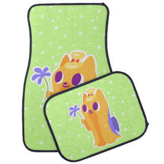 """""""A Flower For You"""" Long-haired Kawaii Yorkie Car Mat"""