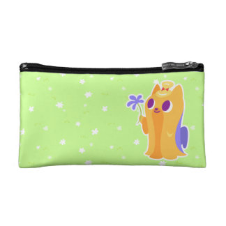 """A Flower For You"" Long-haired Kawaii Yorkie Makeup Bag"