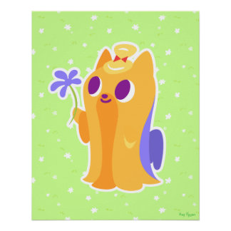 """""""A Flower For You"""" Long-haired Kawaii Yorkie Poster"""