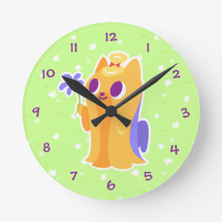 """""""A Flower For You"""" Long-haired Kawaii Yorkie Round Clock"""