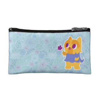 """A Flower For You"" Short-haired Kawaii Yorkie Cosmetic Bag"