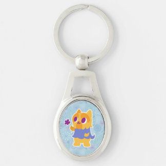 """A Flower For You"" Short-haired Kawaii Yorkie Keychain"