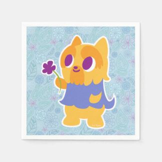 """A Flower For You"" Short-haired Kawaii Yorkie Napkin"