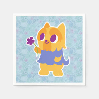 """A Flower For You"" Short-haired Kawaii Yorkie Paper Napkin"