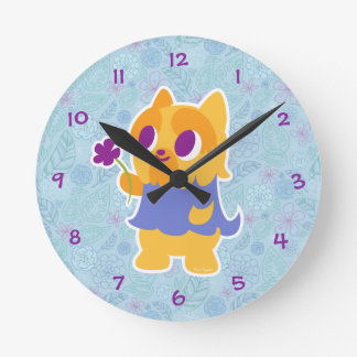 """""""A Flower For You"""" Short-haired Kawaii Yorkie Round Clock"""