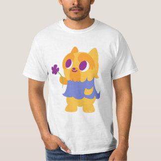 """A Flower For You"" Short-haired Kawaii Yorkie T-Shirt"
