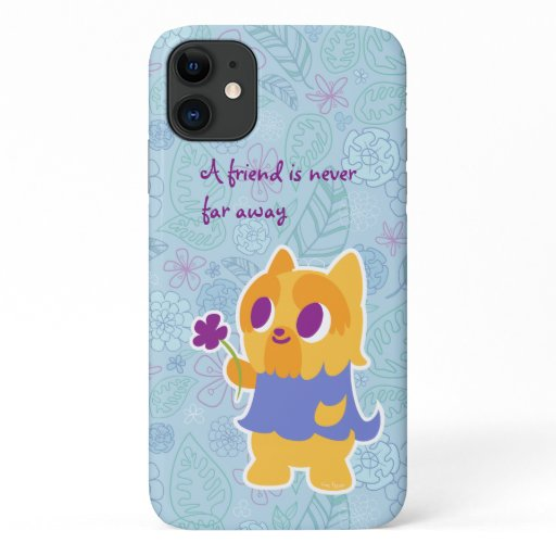 """A Flower For You"" Short-haired Yorkie Kawaii Dog iPhone 11 Case"