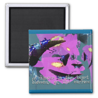 A Flower in the Heart 2 Inch Square Magnet