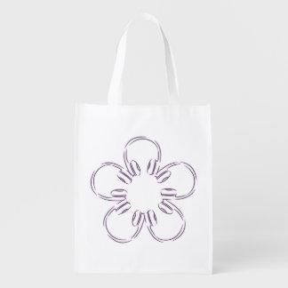 A flower of headphones reusable grocery bag