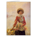 A Flower Seller with Yellow Mums Greeting Card