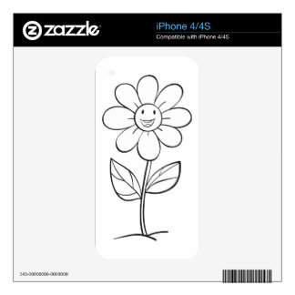 a flower sketch skin for iPhone 4S