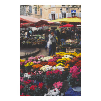 A flower stall, market day, Aix-en-Provence Print