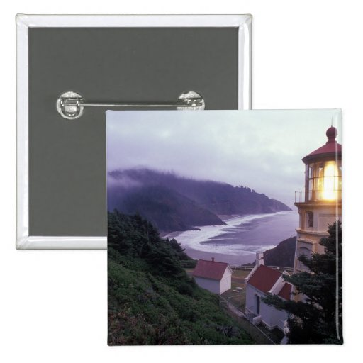 A foggy day on the Oregon coast at the Heceta Pinback Button