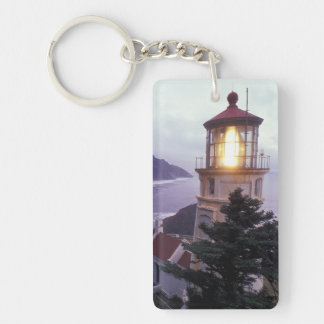 A foggy day on the Oregon coast at the Heceta Double-Sided Rectangular Acrylic Keychain