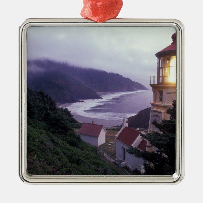 A foggy day on the Oregon coast at the Heceta Metal Ornament