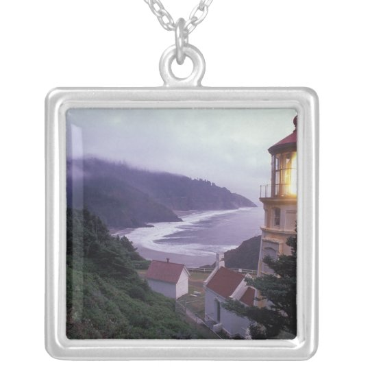 A foggy day on the Oregon coast at the Heceta Silver Plated Necklace