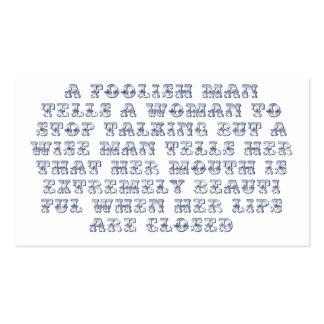 A foolish man tells a woman to stop talking, business card